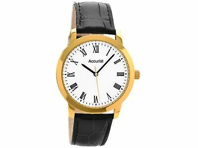 Accurist Men's Quartz Watch with White Dial Analogue Display and Black Leather S