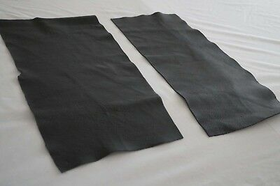 x2 Black Cowhide pieces 58 x 26 cm corrected grain flexible Cow hide leather