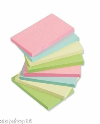 """1200 PASTEL Remove Sticky Post Notes 76mm x 127mm 3"""" x 5"""" (12 packs of 100)"""