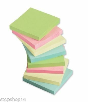 """1200 PASTEL Remove Sticky Post Notes 76mm x 76mm 3"""" x 3"""" (12 packs of 100)"""