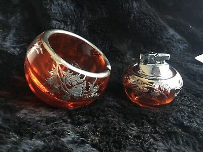 Beautiful Mid-Century Viking Glass Persimmon Silver Overlay Ashtray and Lighter
