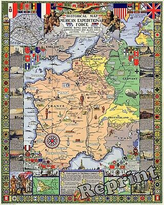 WWI 1918  American Expeditionary Forces Map Published in Year 1932 13x19