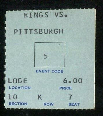 Hockey Ticket Los Angeles Kings  1968 Pittsburgh Penguins 11/2 2nd Season