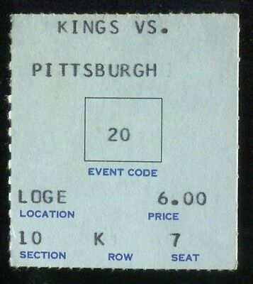 Hockey Ticket Los Angeles Kings  1969 Pittsburgh Penguins 1/18 2nd Season