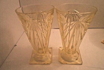 "2 INDIANA GLASS PYRAMID PATTERN 6"" TOPAZ TUMBLERS FOOTED 11 ounce ."