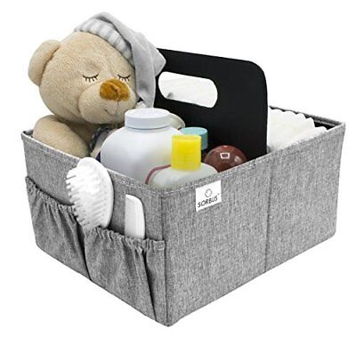 Sorbus Baby Organizer Diaper Caddy with Handle, Luxury Storage(Gray)