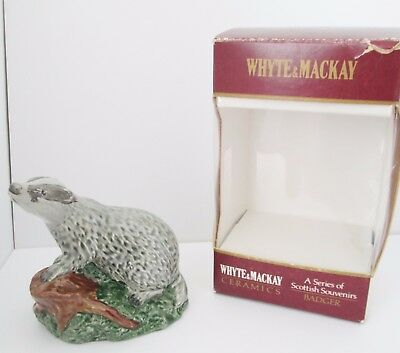 Beswick Whyte & Mackay Badger Scotch Whisky Flask.  Modelled By JG Tongue. 1981.