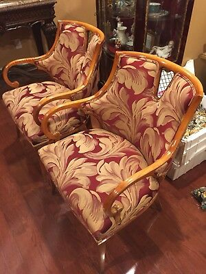 Pair of Vintage Hollywood Regency Beautiful  Fireside Arm Chairs