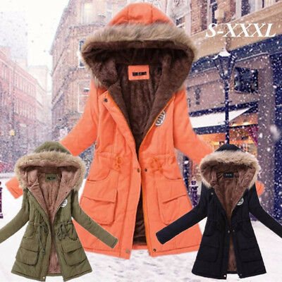 Womens Winter Warm Long Coat Fur Collar Hooded Jacket Slim Parka Outwear Coats