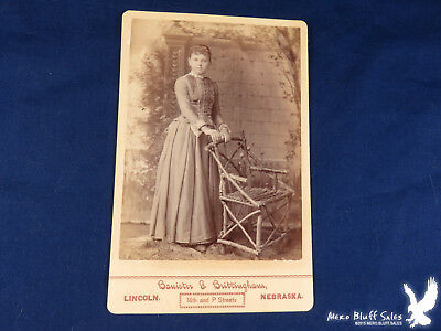 Banister & Brittingham Lincoln NEB Cabinet Card Young Girl Twig Chair Bustle