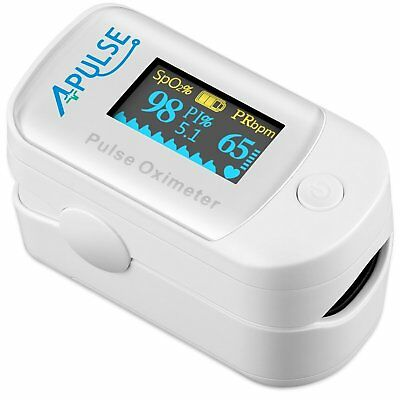 Fingertip Pulse Oximeter SpO2 Blood Oxygen Saturation Monitor OLED Display White