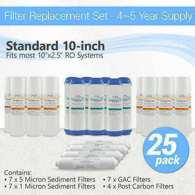 5 Stage Reverse Osmosis Replacement Water Filters, 25 cartridges for 4 - 5 years