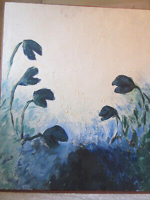 Large Oil Painting on Canvas Abstract Modern Plant Life Signed SF 76