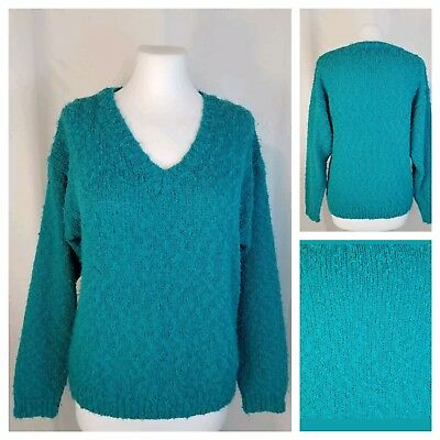 Vintage 1980s H.E.R. L Teal Green Boucle Nubby Knit Sweater Soft Acrylic V-Neck