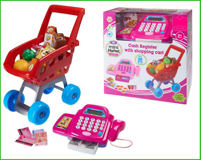 Shopping Cart SuperMarket Pretend Play Toy Kids Shop Cash Register Great Gifts