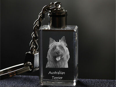 Australian Terrier, Dog Crystal Keyring, High Quality, Crystal Animals CA