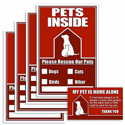 Fire Stickers For Pets or Other Emergency Pet Finder Window Sticker Kit With 4 1
