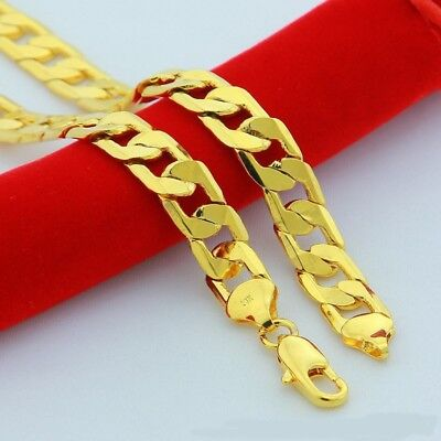 High Quality 24K Yellow Gold Plated Solid Necklaces Jewelry choker Chain 10 mm