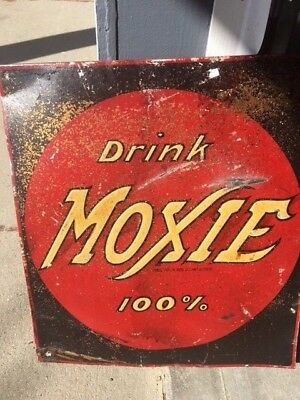 Vintage Antique Tin Metal Embossed Drink Moxie Soda Sign