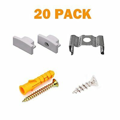 20PCS Metal Mounting Clips and End Caps with Screws for StarlandLed U Shape LED