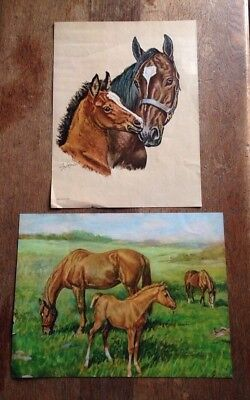 Vintage Horse Prints Signed Ole Larsen (2) Litho USA meadow scene and mare foal