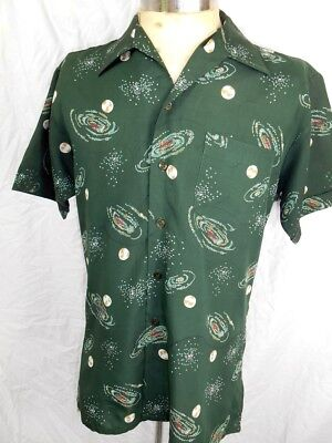 Vintage 70s Galaxy Star Print Short Sleeve Polyester Patterned Disco Shirt M