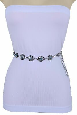 New Women Vintage Antique Silver Metal Bohemian Belt Turquoise Blue Charms S M L