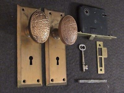 1 Pair Antique Brass PUBLIC SCHOOL CITY OF NEW YORK Door Knobs Backplates Lock