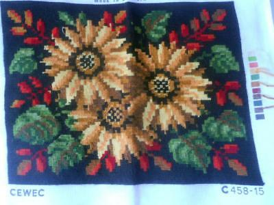 Vintage Completed Tapestry Orange Brown Flowers Suit Cushion Frame Etc
