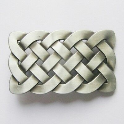Celtic Knot - antique brush silver plated removable BELT BUCKLE