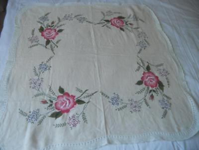 Vintage Hand Embroidered Linen Table Cloth Large Pink Roses 90 X 89 Cms