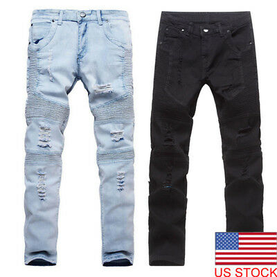 Men's Stretchy Ripped Skinny Biker Jeans Destroyed Taped Slim Fit Denim Pants US