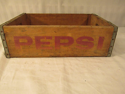 Vintage Pepsi Wood Crate Carrier Box Natural