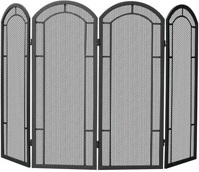 Fireplace Screen 4 Fold 4 Panel Black Wrought Iron Heavy Gauge Mesh Heating