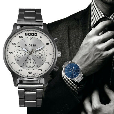 Men's Crystal Stainless Steel Watch Luxury Analog Quartz Business Wrist Watches