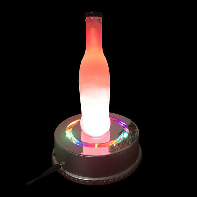 Crystal Display Stand 6-Inch Rotating Base 15 LED Light(Silver)