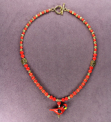 RED CARDINAL TOTEM NECKLACE Attraction Bird Symbol Hearts Passion Gold Crystals