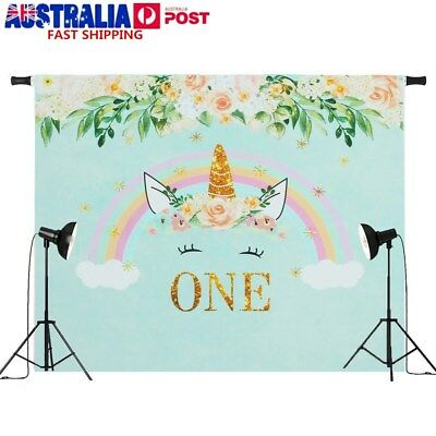 7x5ft / 5x3ft One Year Unicorn Flowers Rainbow Photography Backdrop Studio Props