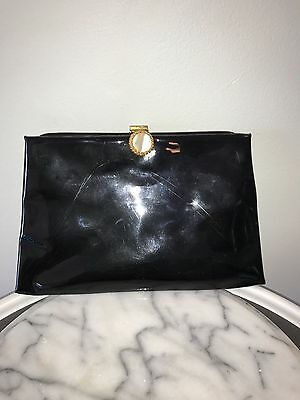 Garay Vintage Patent Leather Evening Clutch Purse w Gold Mother of Pearl Clasp