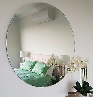 Round Frameless Polished Edge wall Mirror Bathroom or Feature 50cm to 60cm dia.