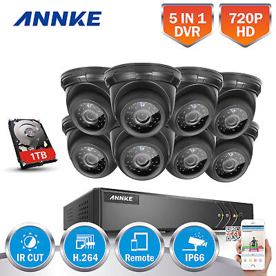 ANNKE 1080P Lite 8CH/4CH DVR 720P Security Camera System TVI Email Picture 1T NO