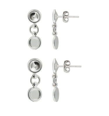 Sterling Silver Dangle Stud Earrings for Gluing Rivoli 1122 & 2088 Crystals