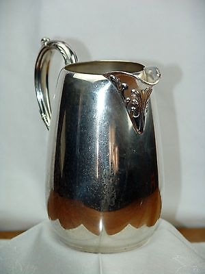 """Wm ROGERS SILVER ICED TEA WATER WINE PITCHER ORNATE ANTIQUE 6 cup  7 1/2""""H x 7""""L"""