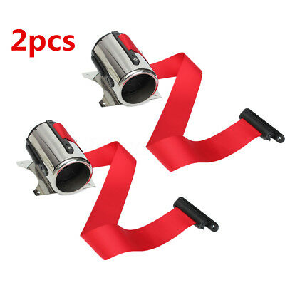 2X Red Belt Stanchion 17''/ 5M Queue Barrier Post Wall Mount Retractable Ribbon