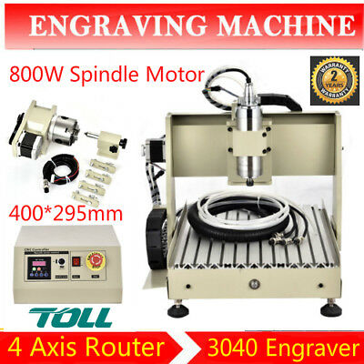 4 Axis 3040 Cnc Router Engraver Engraving Milling Drill Cutting Machine 800W Vfd