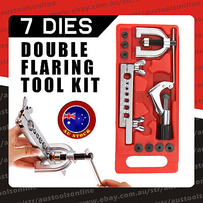 DIY Tube Flaring Tool Kit for Brake Lines Refrigeration Copper Alu. Pipe Cutter
