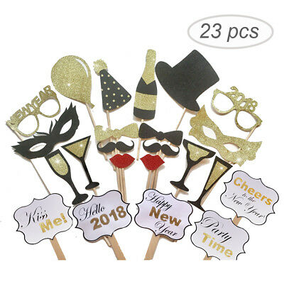 23pcs Photo Booth Props 2018 New Year's Eve Party Christmas Masks Decoration