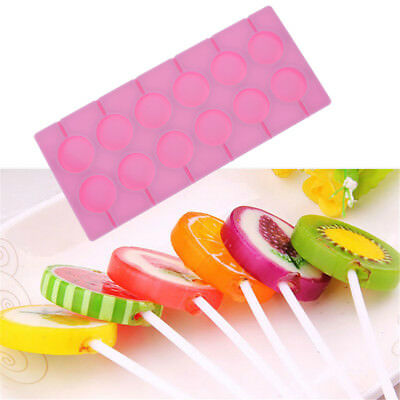 12-Capacity Round Silicone Lollipop Mold Sticks Baking Hard Candy Mould Hot 1pc