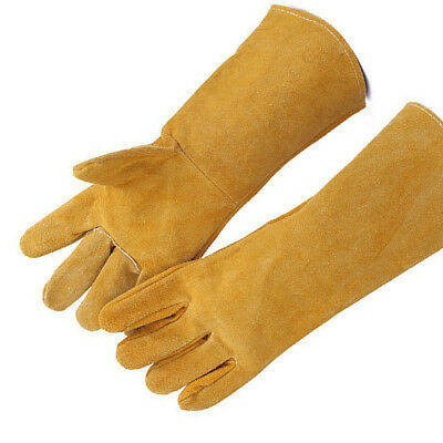 Welders Wood Burner Welding Fire Heat Resistant Leather Gloves Hand Protections