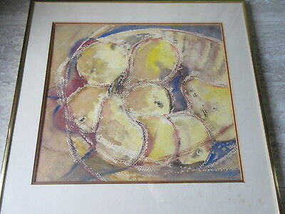 Vintage Abstract Watercolor Painting Fruit Still Life Signed E.Robertson 1980